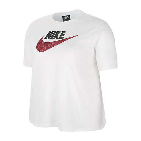 Nike Womens Crew Neck Short Sleeve T-Shirt Plus, 2x , White