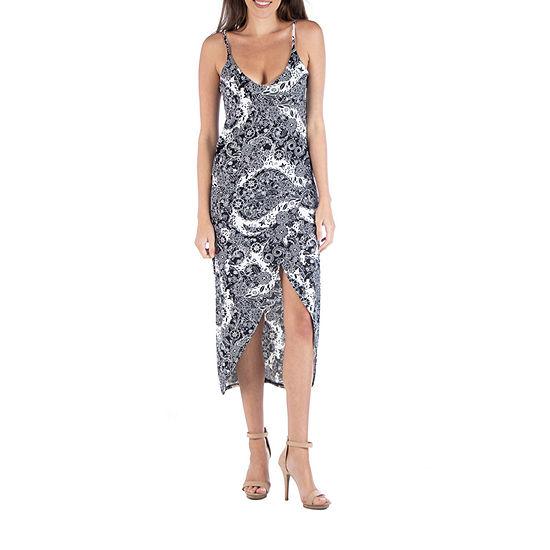 24/7 Comfort Apparel Midi Black And White Paisley Wrap Dress