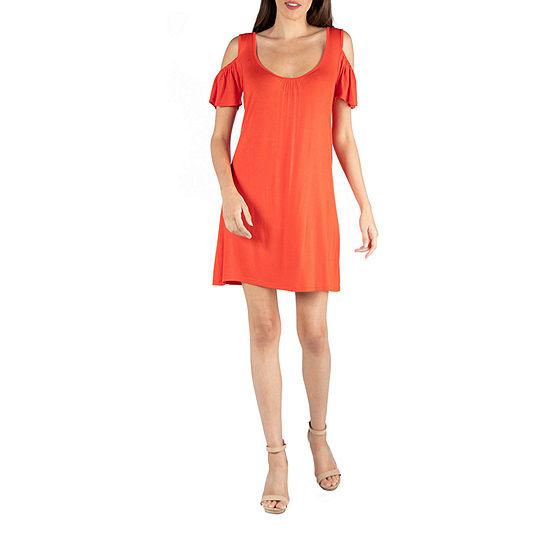 24/7 Comfort Apparel Open Shoulder Loose Fit Mini Dress