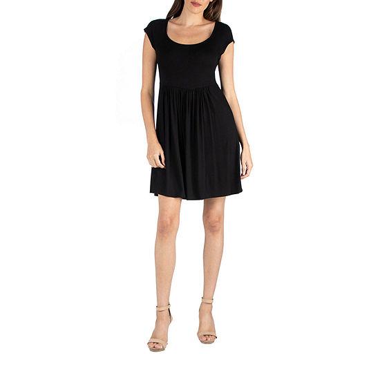 24/7 Comfort Apparel Cap Sleeve Babydoll Dress