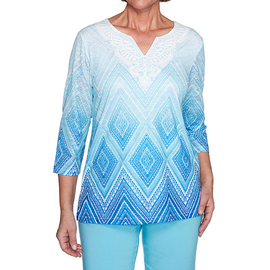 Alfred Dunner Sea You There-Womens Split Crew Neck 3/4 Sleeve T-Shirt
