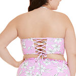 Decree Floral Bandeau Bikini Swimsuit Top Juniors Plus