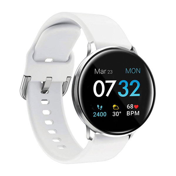 iTouch Sport 3 for Women: Silver Case with White Strap Smartwatch (45mm) 500015S-51-B03