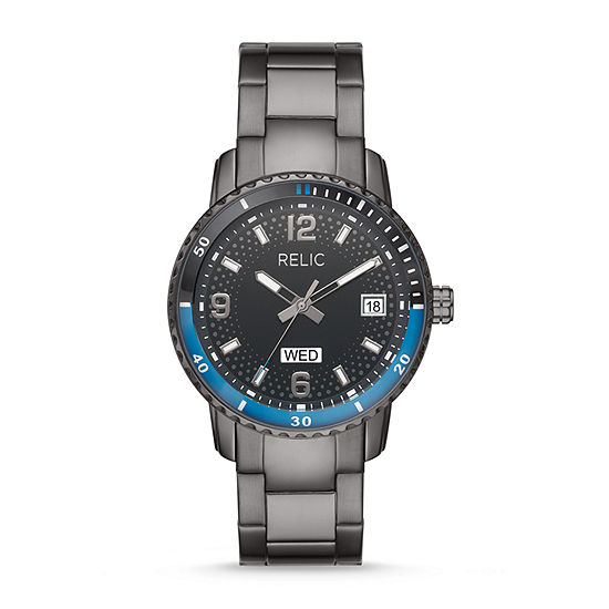 Relic By Fossil Sanger Mens Gray Stainless Steel Bracelet Watch Zr12639