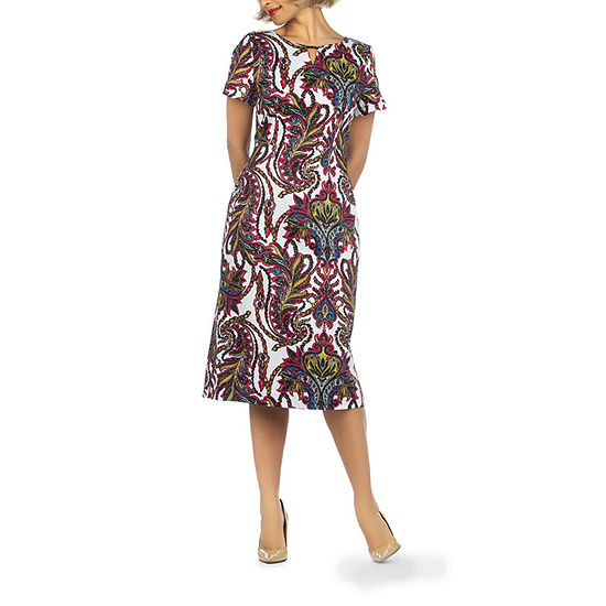 Giovanna Signature-Plus Short Sleeve Midi Floral Shift Dress