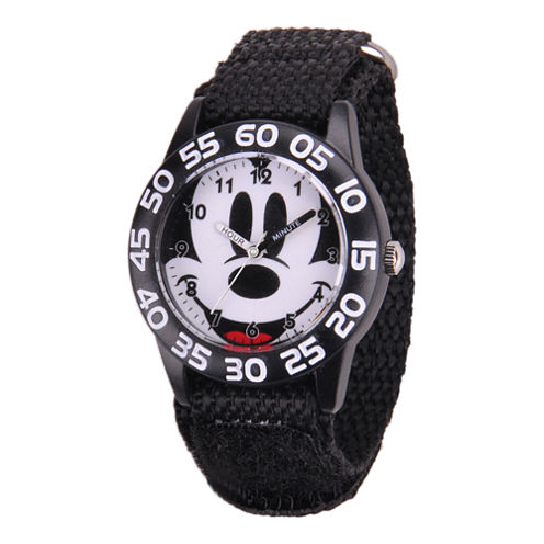 Disney Kids Mickey Mouse Easy-Read Black Fast Strap Watch