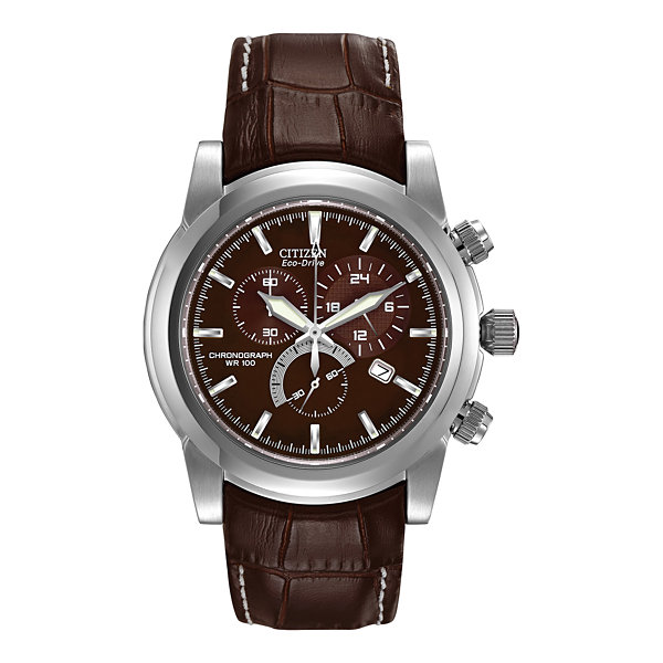 Citizen® Eco-Drive® Mens Brown Leather Strap Sport Watch AT0550-11X