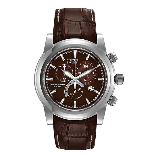 Citizen Chandler Mens Chronograph Brown Leather Strap Watch-At0550-11x