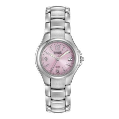 Citizen® Eco-Drive® Womens Pink Dial Watch EW1170-51X