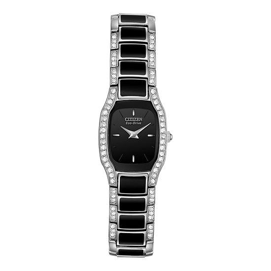 Citizen Silhouette Crystal Womens Black Bracelet Watch-Ew9780-57e