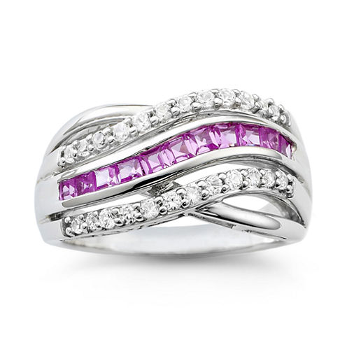 Sterling Silver Lab Created Pink & White Sapphire Wave Ring