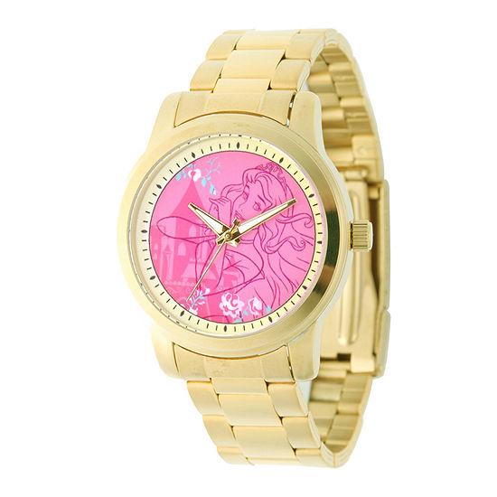 Disney Sleeping Beauty Womens Gold Tone Stainless Steel Bracelet Watch