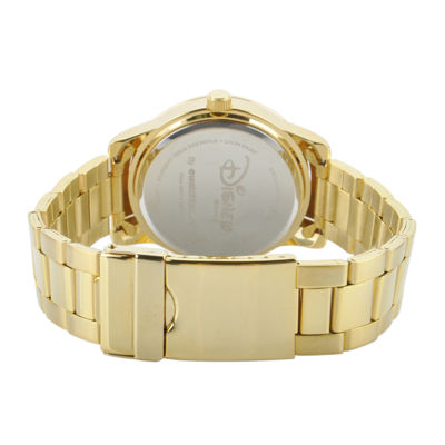 Disney Sleeping Beauty Womens Gold-Tone Stainless Steel Bracelet Watch