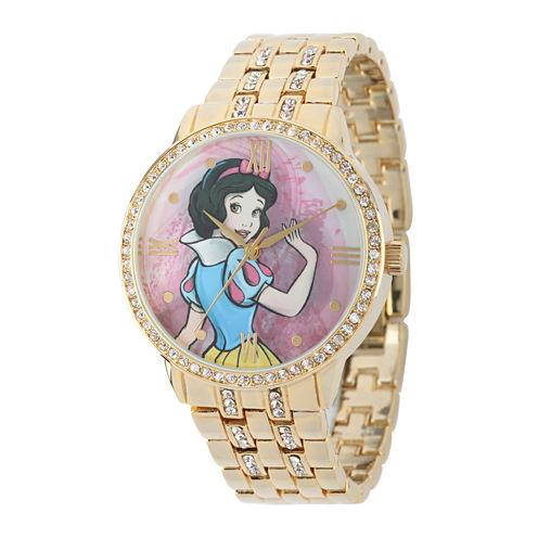 Disney Snow White Womens Crystal-Accent Gold-Tone Bracelet Watch