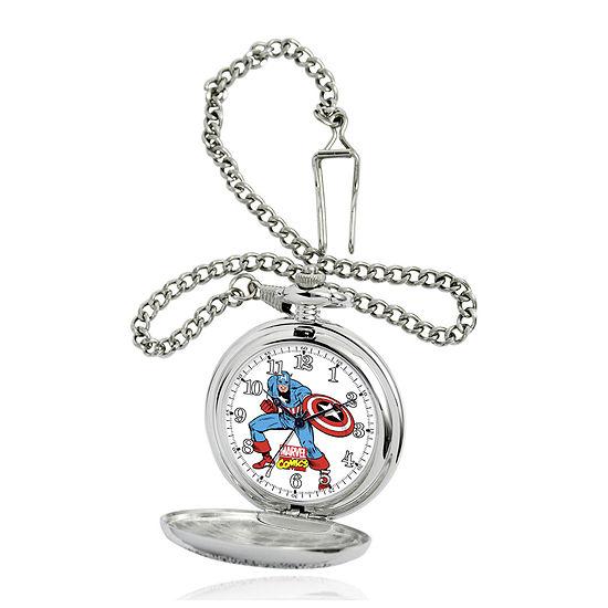 Marvel® Captain America Mens Silver-Tone Pocket Watch