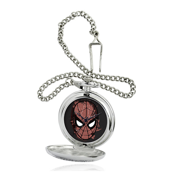 Marvel® Spider-Man® Mask Mens Silver-Tone Pocket Watch
