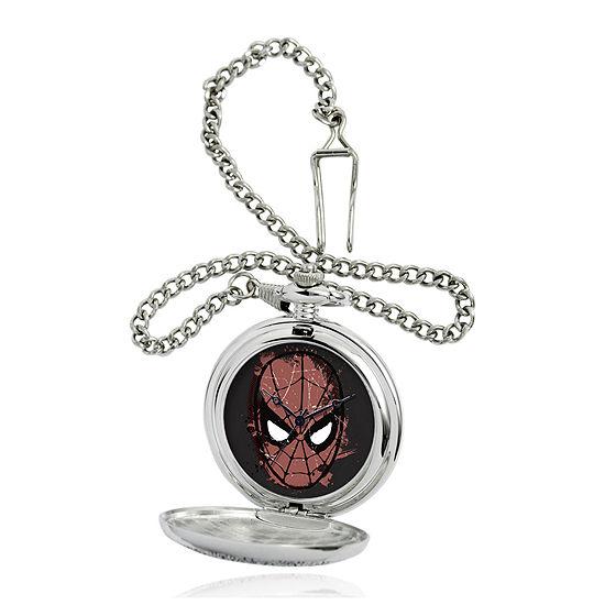 Marvel® Spider-Man® Mask Mens Silver-Tone Pocket Watch