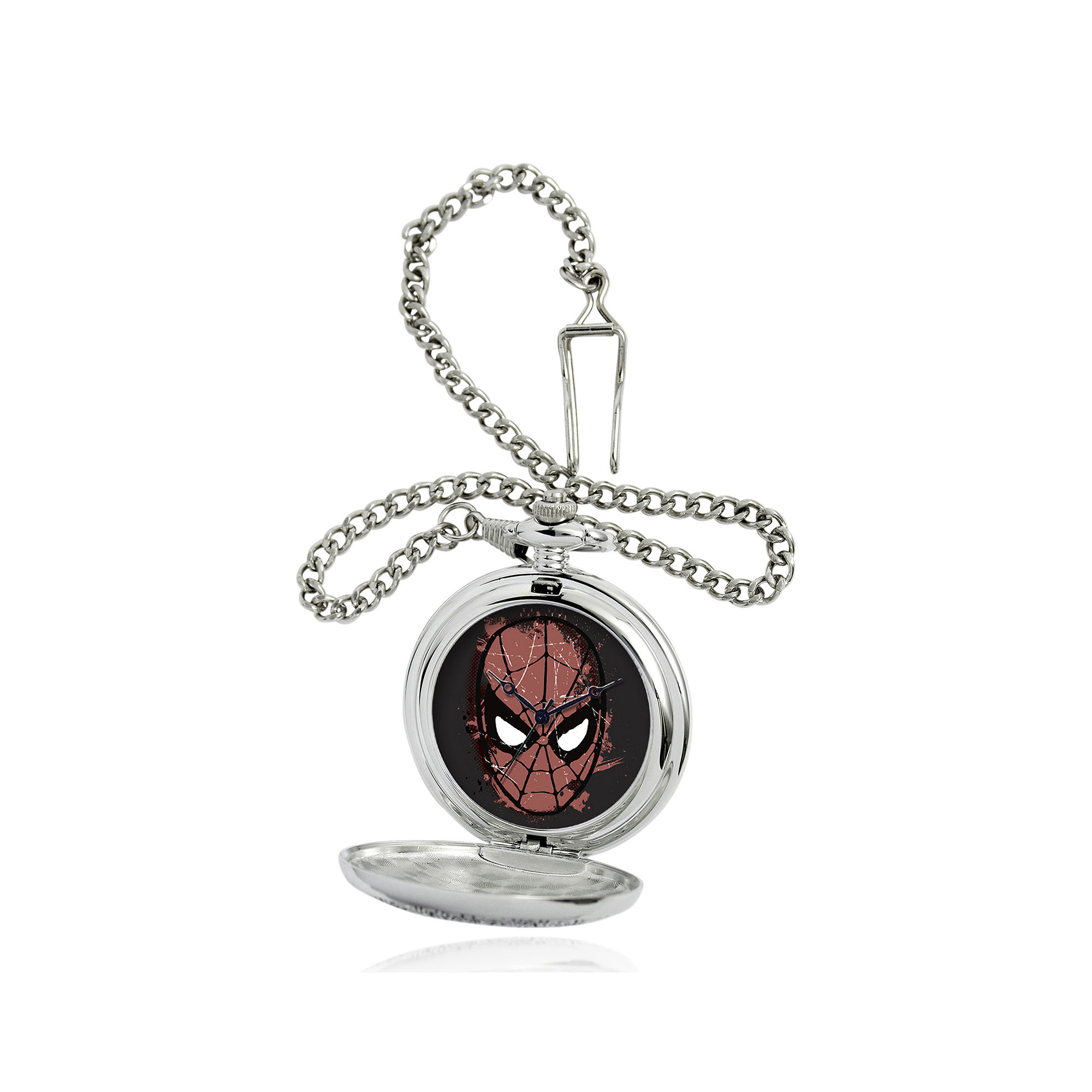 Marvel Spider-Man Mask Mens Silver-Tone Pocket Watch