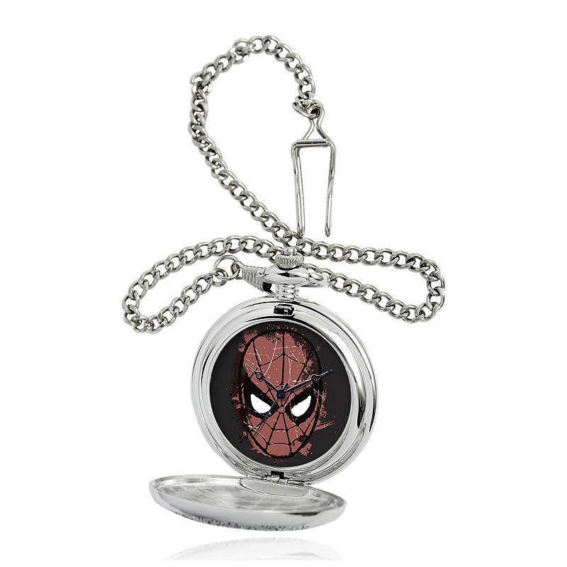 Marvel Spider-Man Mask Mens Silver-Tone Pocket Watch