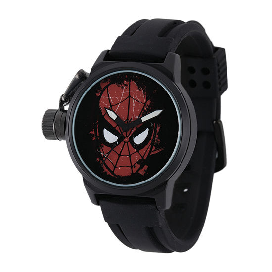 Marvel Spider Man Mens Black Silicone Strap Crown Protector Watch