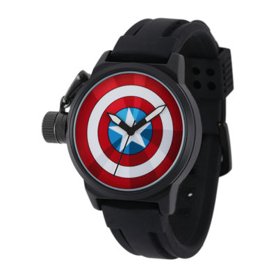 Marvel® Captain America Mens Black Silicone Strap Crown Protector Watch