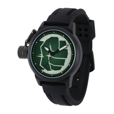 Marvel® Hulk Mens Black Silicone Strap Crown Protector Watch