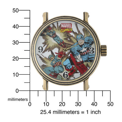 Marvel® Vintage Captain America Mens Brown Leather Strap Watch