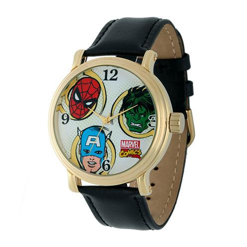 Marvel® Vintage Avengers Mens Black Leather Strap Watch
