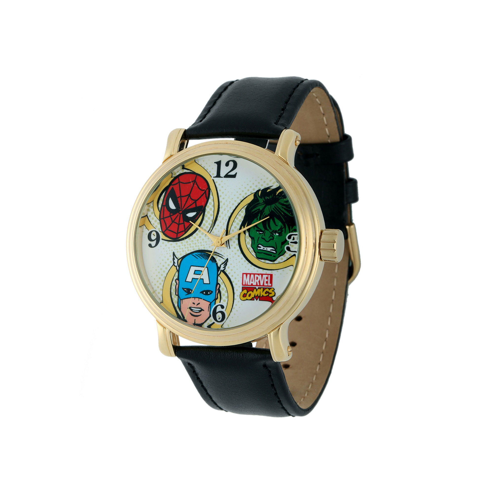 Marvel Vintage Avengers Mens Black Leather Strap Watch