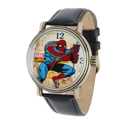 Marvel® Vintage Spider-Man® Mens Black Leather Strap Watch