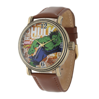 Marvel® Vintage Hulk Mens Brown Leather Strap Watch