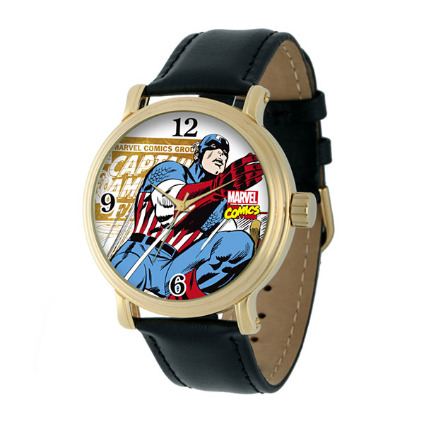 Marvel® Vintage Captain America Mens Black Leather Strap Watch