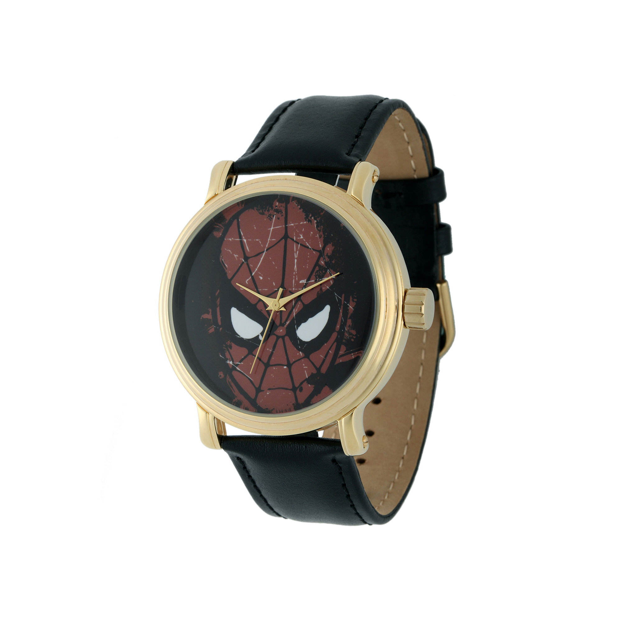 Marvel Vintage Spider-Man Mens Black Leather Strap Watch