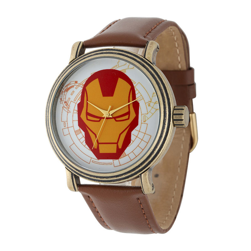 Marvel Vintage Captain America Mens Brown Leather Strap Watch