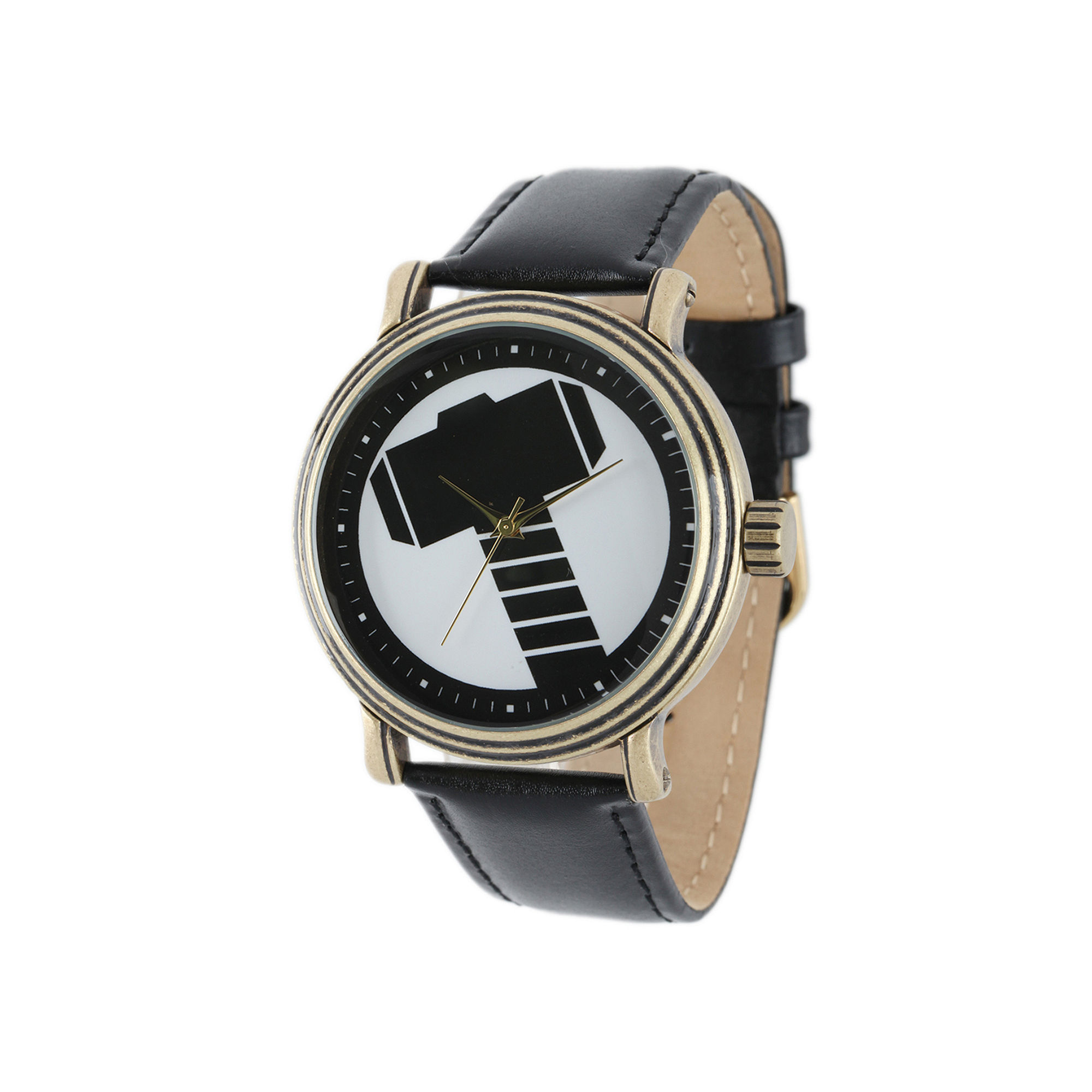 Marvel Vintage Thor Mens Black Leather Strap Watch