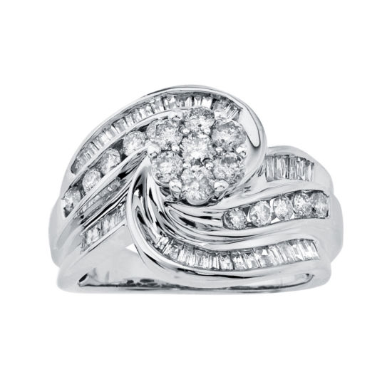 1¼ CT. T.W. Diamond 14K White Gold Swirl Ring