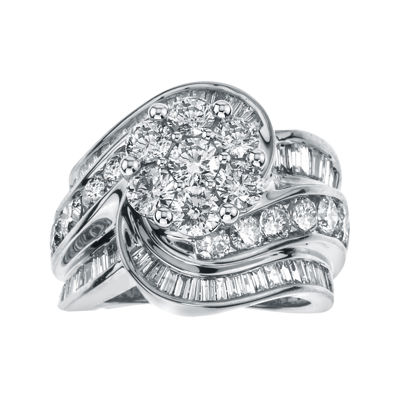 4 CT. T.W. Diamond 14K White Gold Swirl Ring