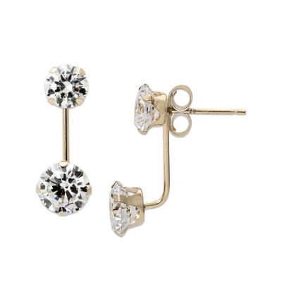Round Cubic Zirconia 14K Yellow Gold Front-To-Back Stud Earrings