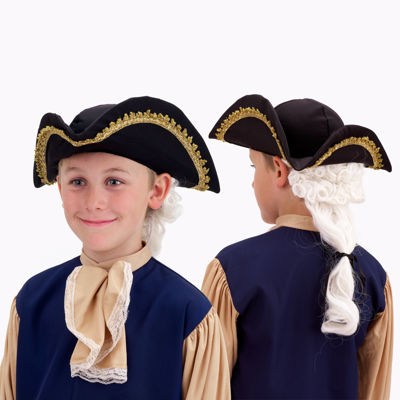Colonial Hat with Wig Child - One Size