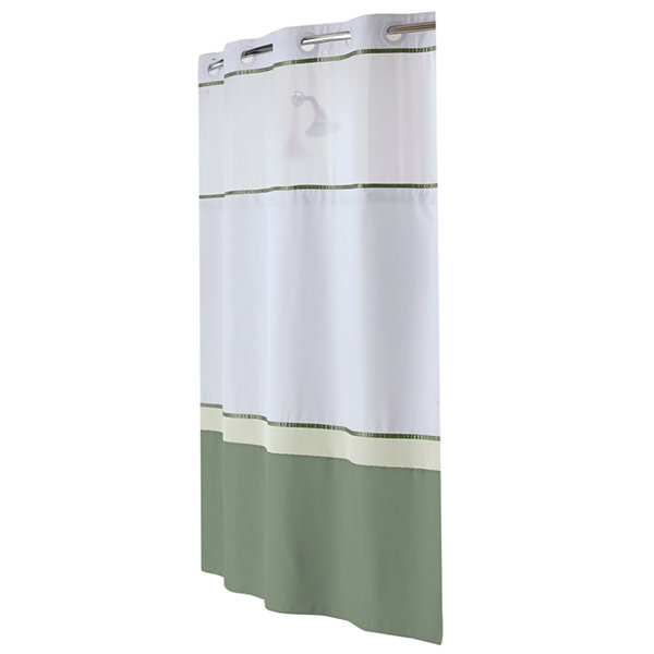 Hookless Windsor Colorblock Shower Curtain with PEVA Liner