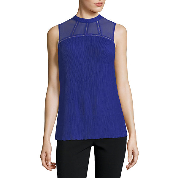 City Streets Sleeveless Crew Neck Blouse