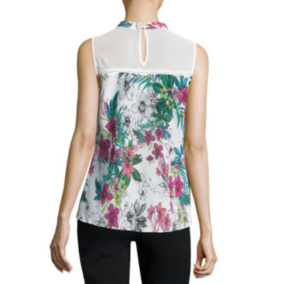 City Streets Sleeveless Crew Neck Floral Blouse