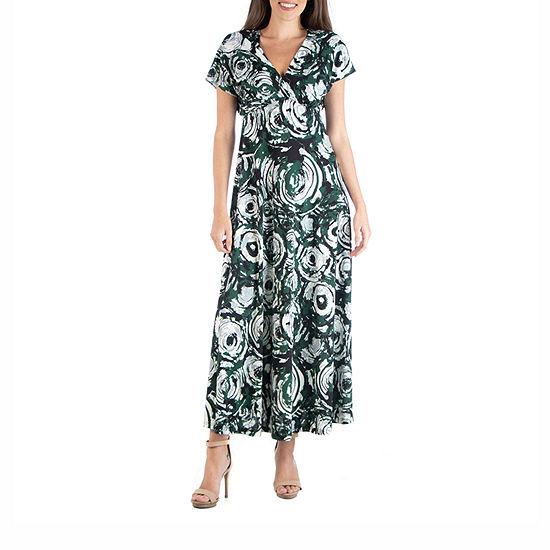 24/7 Comfort Apparel Multicolor Empire Waist Maxi Dress