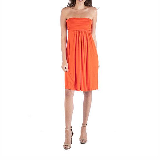 24/7 Comfort Apparel Strapless Empire Waist Mini Dress