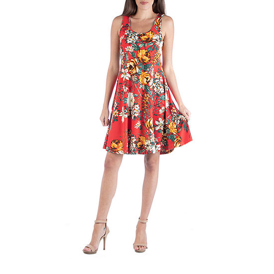 24/7 Comfort Apparel Floral Sleeveless Fit and Flare Dress