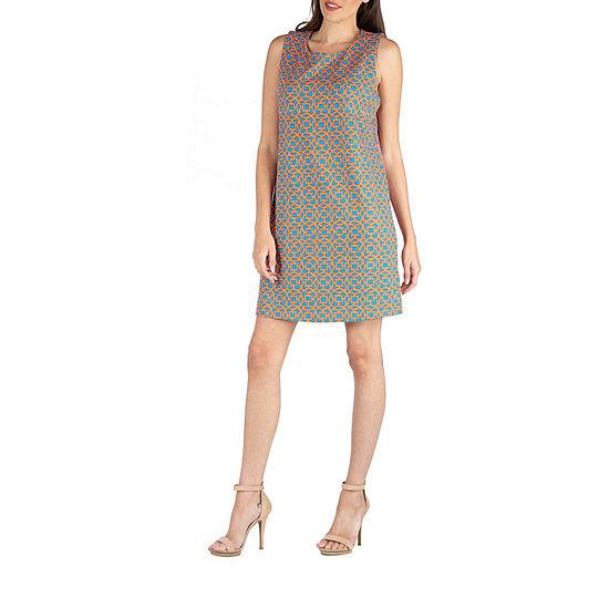 24/7 Comfort Apparel Geometric Sleeveless Shift Dress