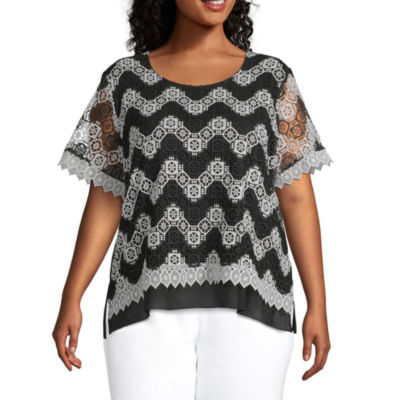 Alfred Dunner Plus Checkmate Womens Round Neck Short Sleeve Crochet Blouse