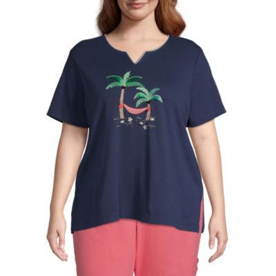 Alfred Dunner Island Hopping Womens Plus Split Crew Neck Short Sleeve T-Shirt