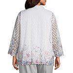 Alfred Dunner-Plus Primrose Garden Womens Round Neck Long Sleeve Blouse