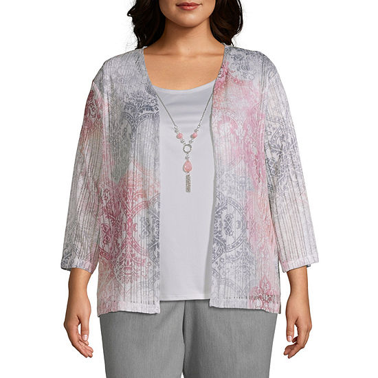 Alfred Dunner Plus Primrose Garden-Womens Round Neck 3/4 Sleeve T-Shirt